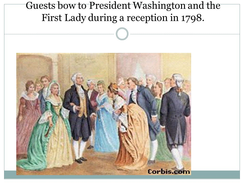 George and Martha Washington at Presidential Reception Guests bow to President Washington and the First Lady during a reception in 1798.