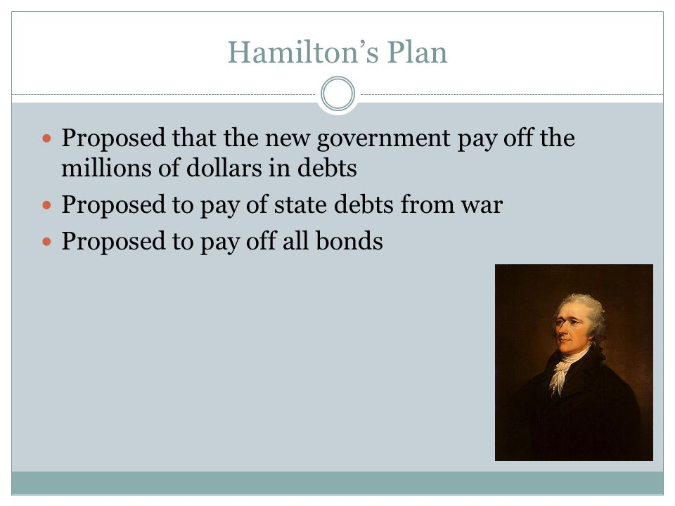 Hamilton's Plan Proposed that the new government pay off the millions of dollars in debts. Proposed to pay of state debts from war.