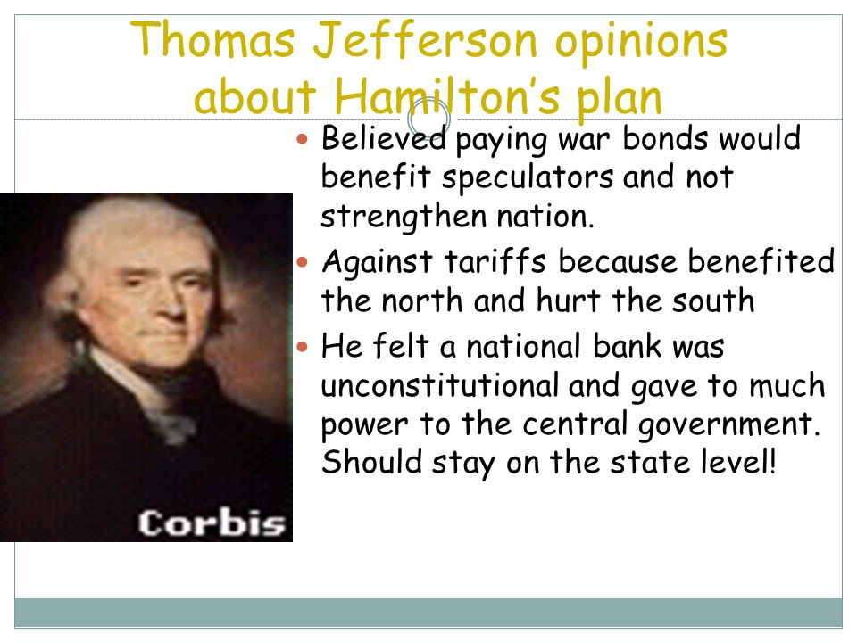 Thomas Jefferson opinions about Hamilton's plan