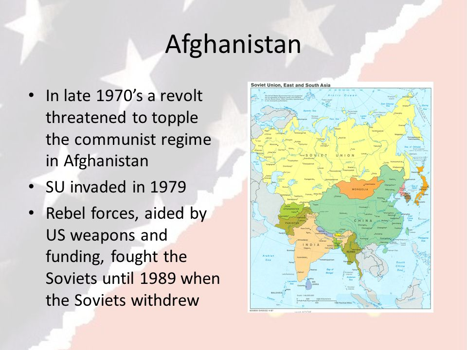 Afghanistan In late 1970's a revolt threatened to topple the communist regime in Afghanistan. SU invaded in 1979.
