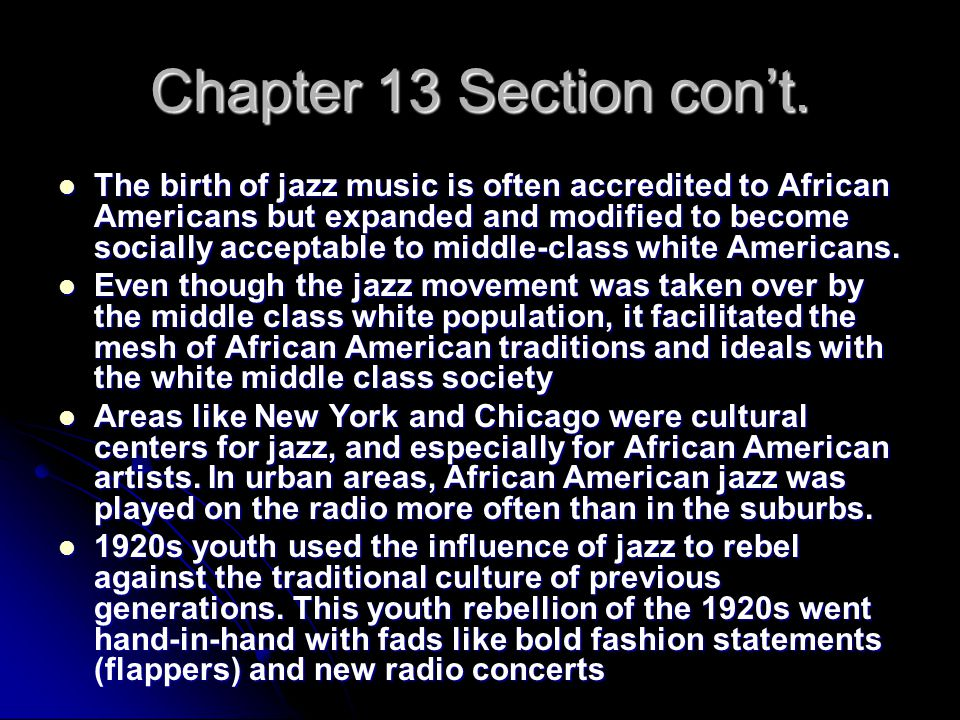 Chapter 13 Section con't.
