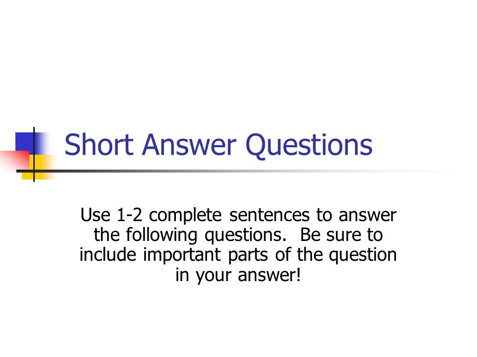 Short Answer Questions