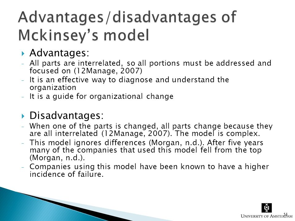 mckinsey s 7 s model advantages and disadvantages Your first-ever business e-coach: the seven-ss (7-s model) is a framework for analyzing organizations and looking at the various.