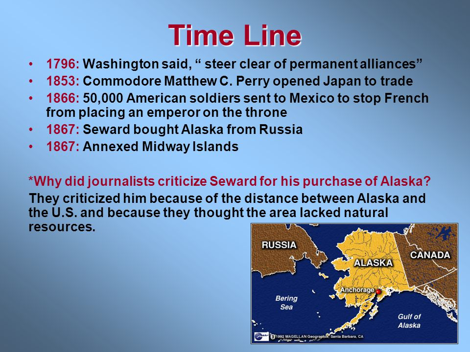 Time Line 1796: Washington said, steer clear of permanent alliances