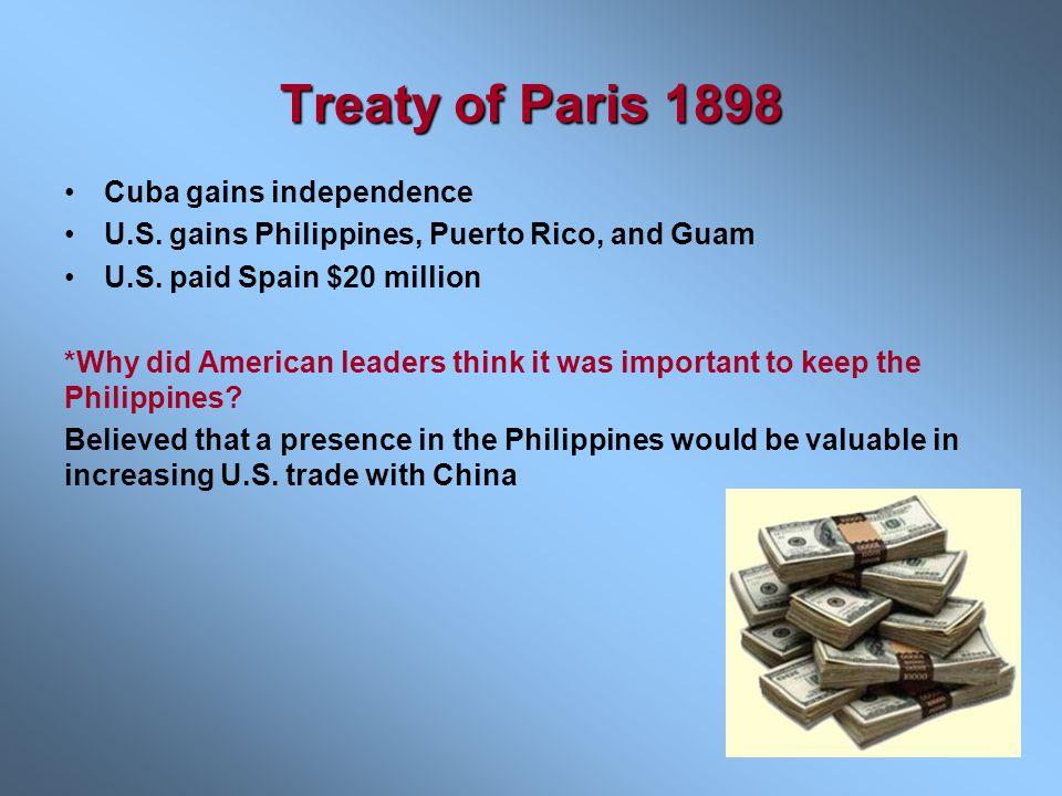 Treaty of Paris 1898 Cuba gains independence