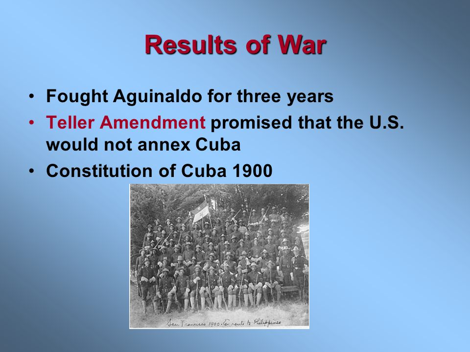 Results of War Fought Aguinaldo for three years