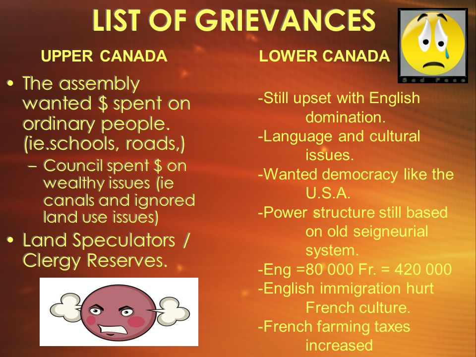 LIST OF GRIEVANCES UPPER CANADA. LOWER CANADA. The assembly wanted $ spent on ordinary people. (ie.schools, roads,)