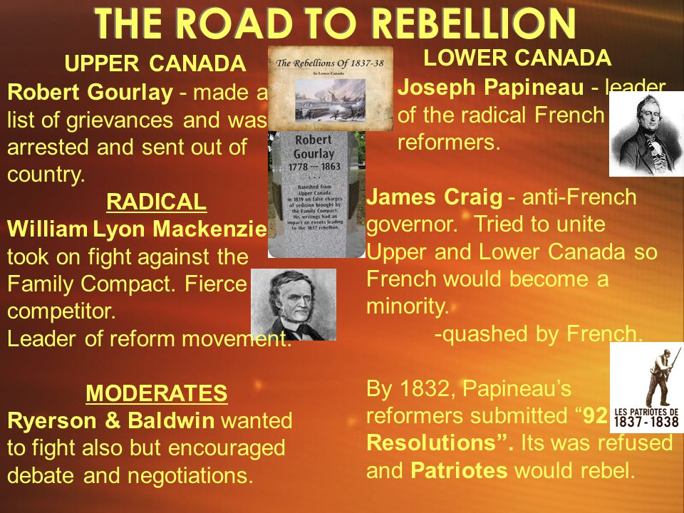 THE ROAD TO REBELLION LOWER CANADA UPPER CANADA