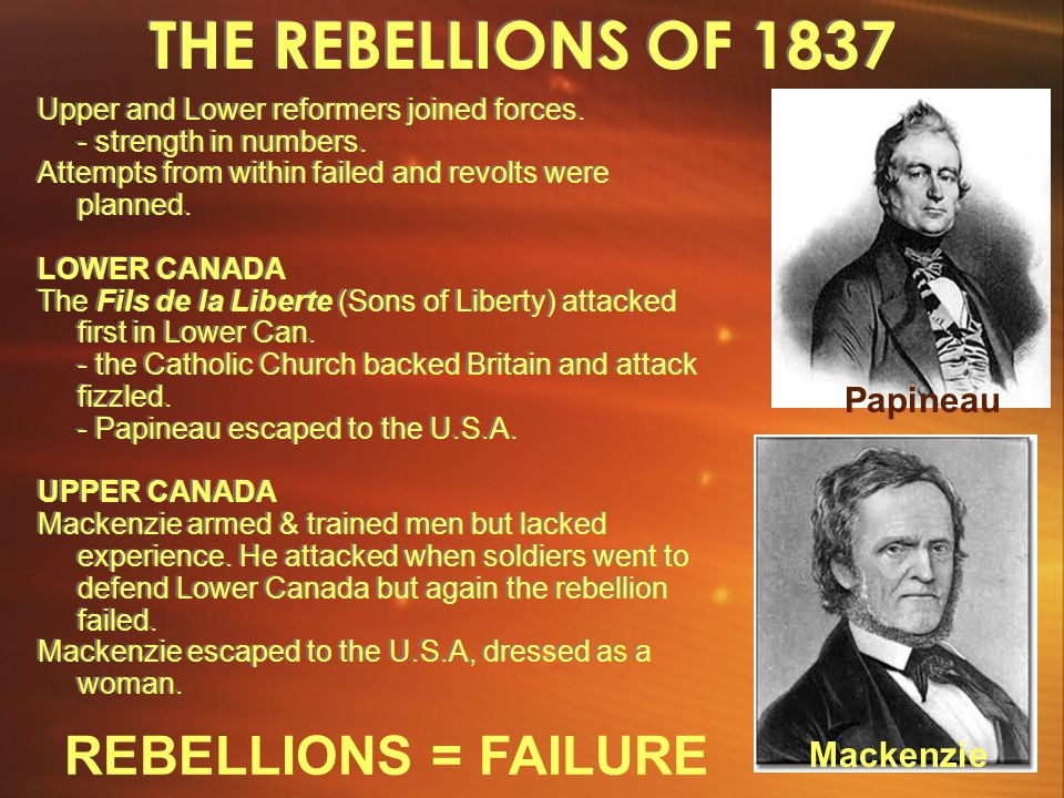 THE REBELLIONS OF 1837 REBELLIONS = FAILURE Papineau Mackenzie