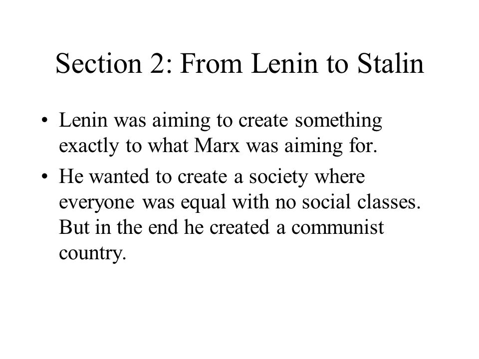Section 2: From Lenin to Stalin