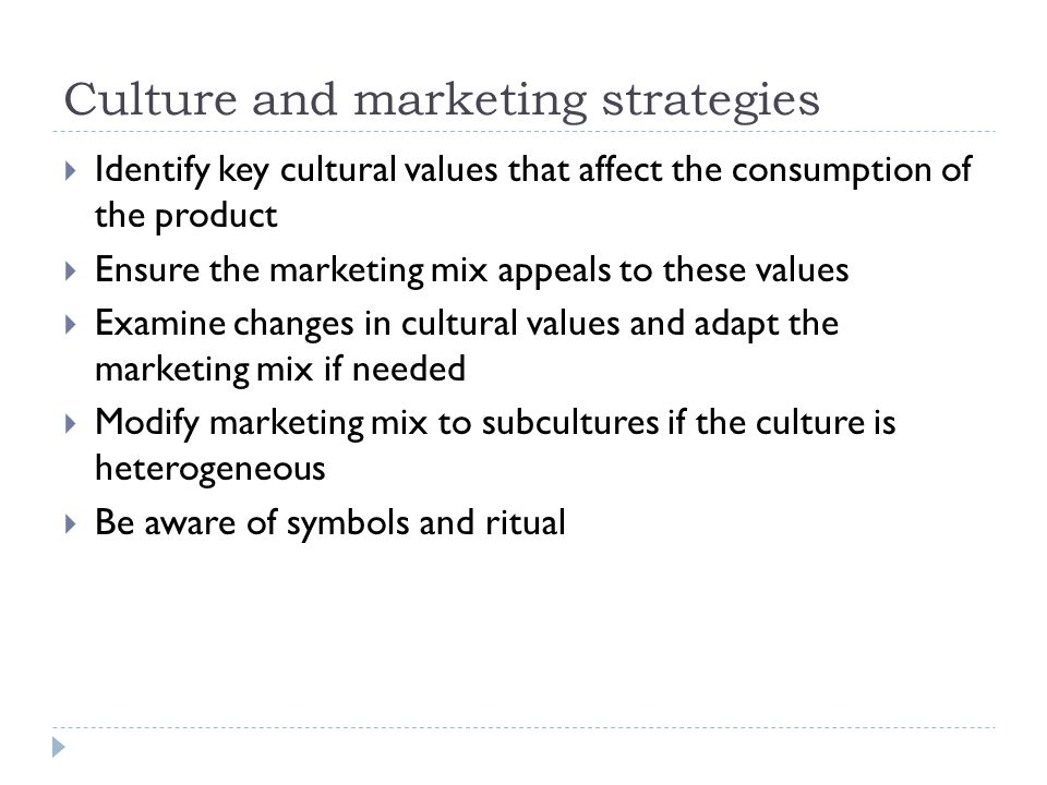 Culture and marketing strategies