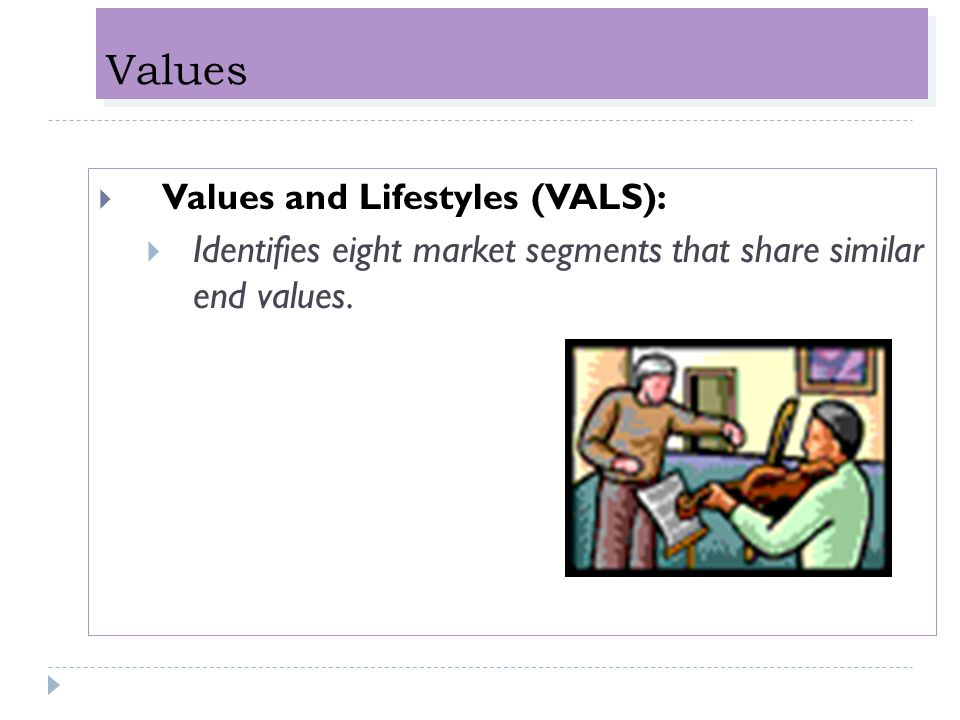 Values Identifies eight market segments that share similar end values.