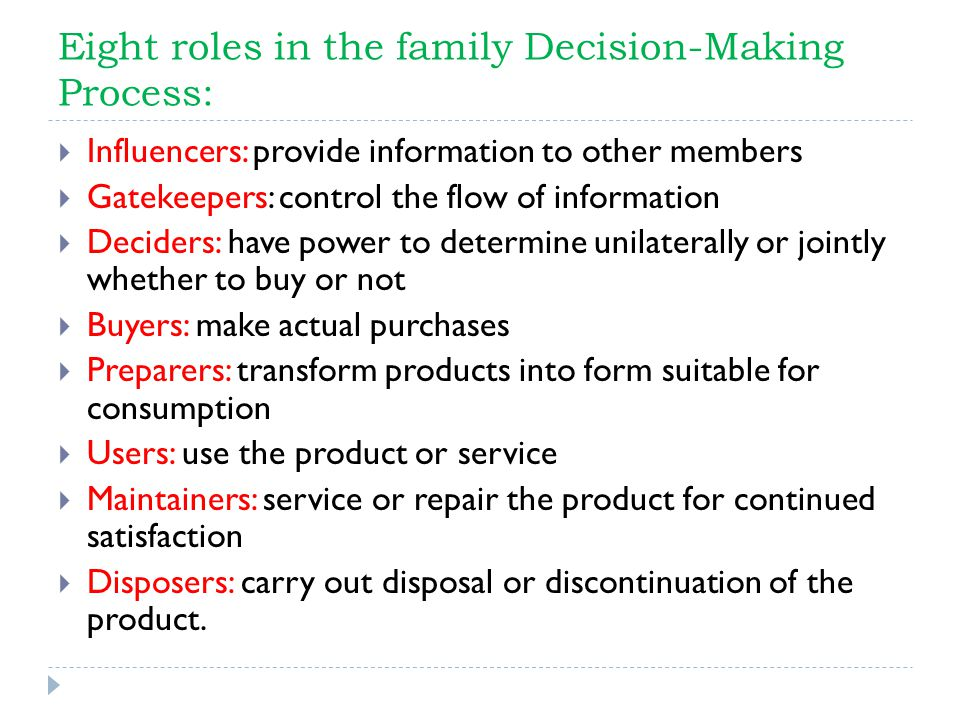 Eight roles in the family Decision-Making Process:
