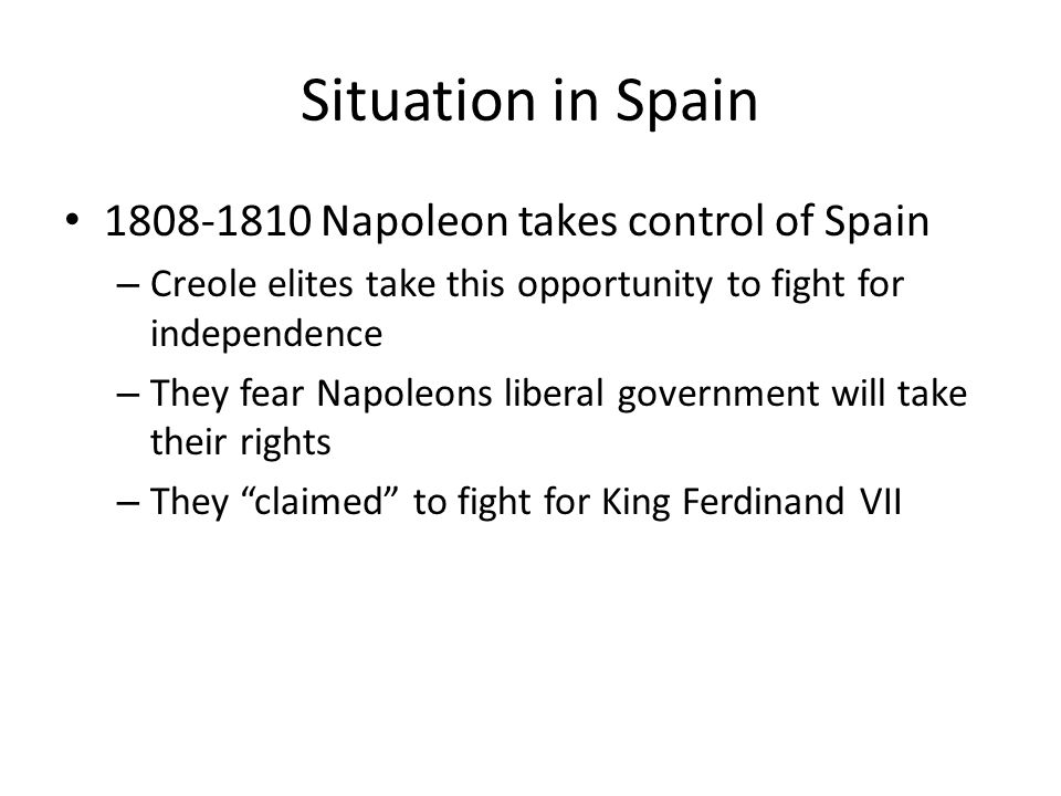 Situation in Spain 1808-1810 Napoleon takes control of Spain