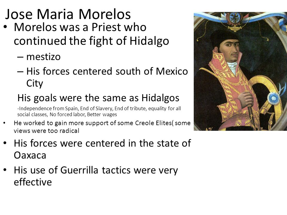 Jose Maria Morelos Morelos was a Priest who continued the fight of Hidalgo. mestizo. His forces centered south of Mexico City.