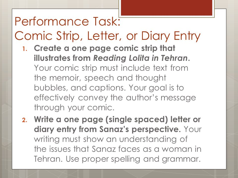 Performance Task: Comic Strip, Letter, or Diary Entry