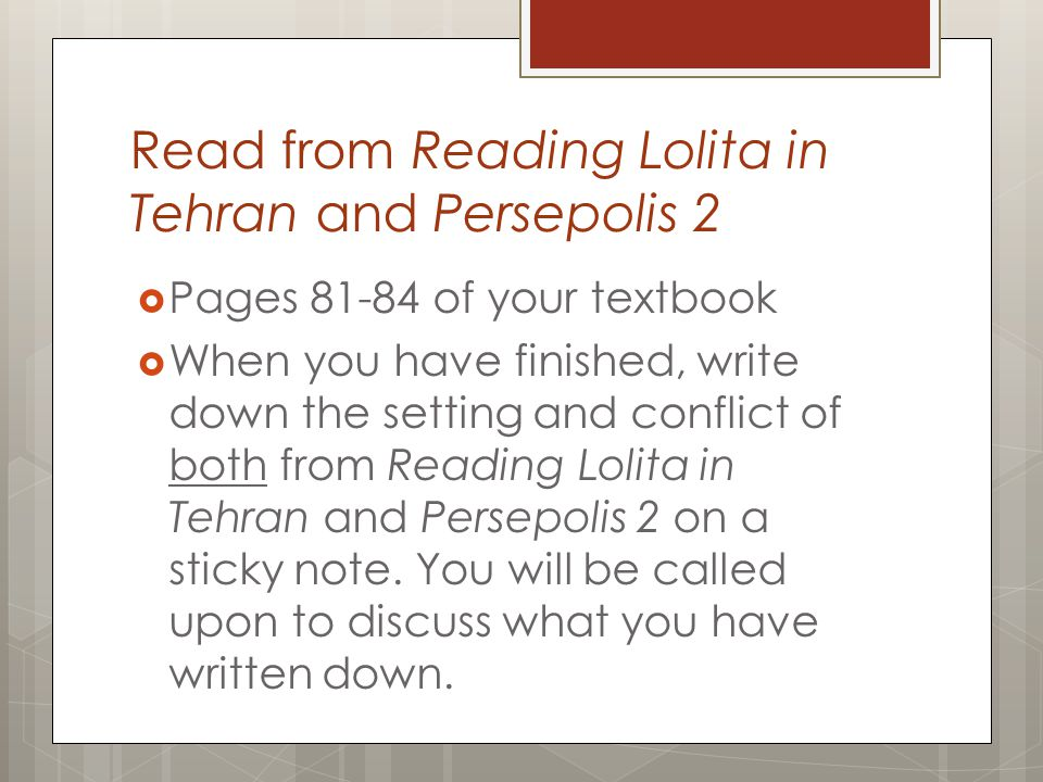 Read from Reading Lolita in Tehran and Persepolis 2