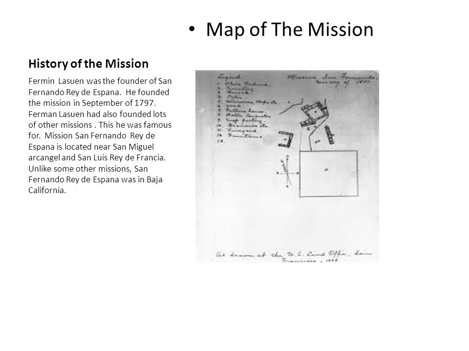 Map of The Mission History of the Mission
