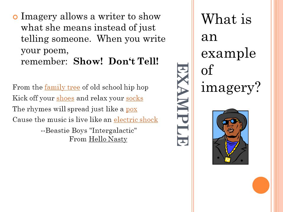 EXAMPLE What is an example of imagery