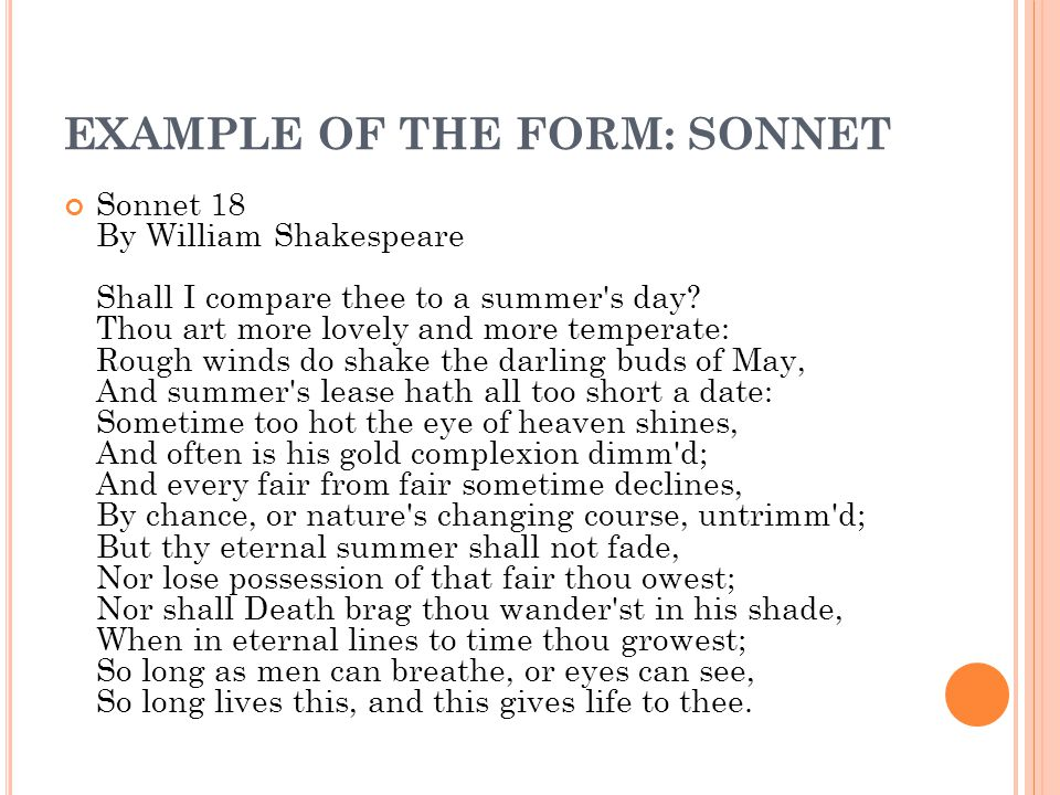 EXAMPLE OF THE FORM: SONNET
