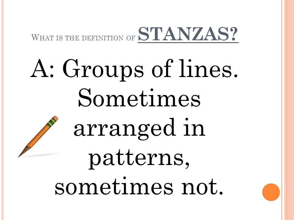 What is the definition of STANZAS