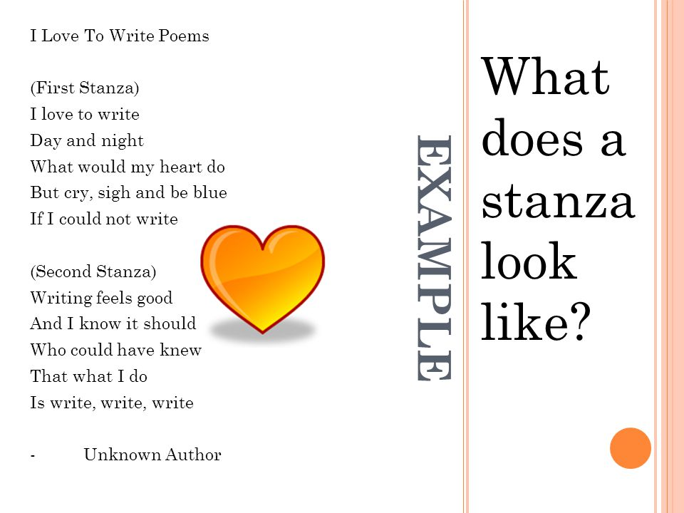 What does a stanza look like