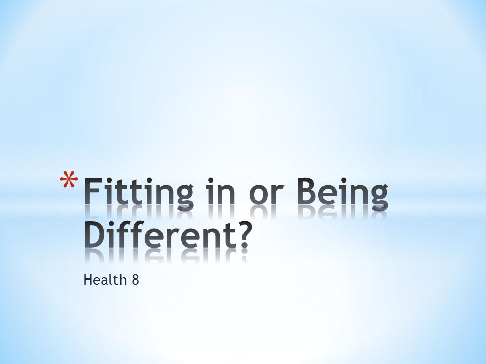 Fitting in or Being Different