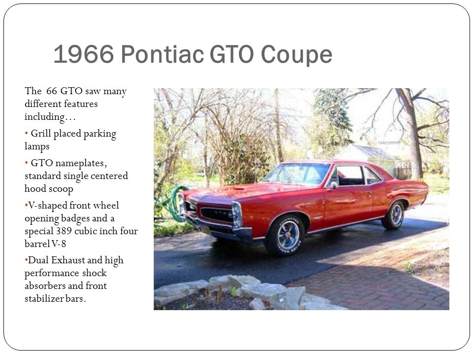 1966 Pontiac GTO Coupe The 66 GTO saw many different features including… Grill placed parking lamps.