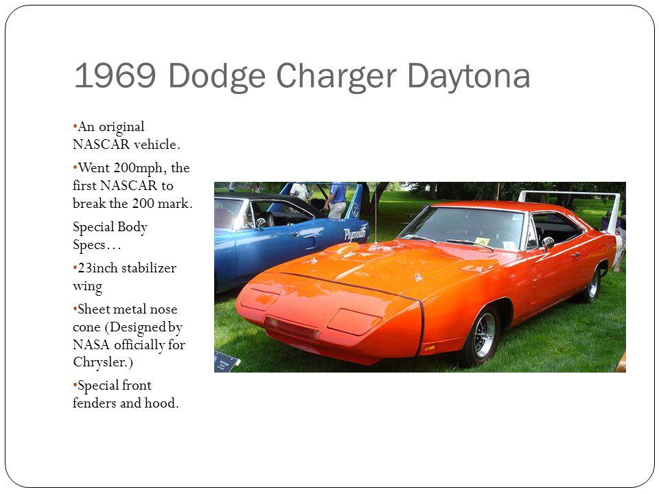 1969 Dodge Charger Daytona An original NASCAR vehicle.