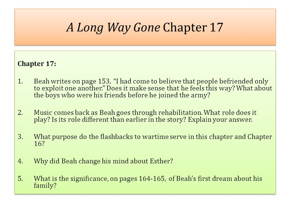 A Long Way Gone Chapter 17 Chapter 17: