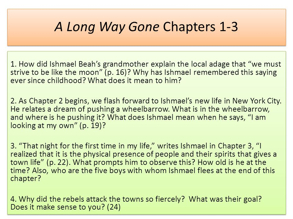 A Long Way Gone Chapters 1-3