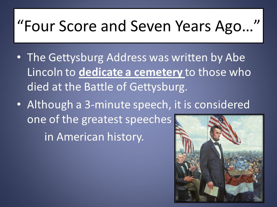 Four Score and Seven Years Ago…
