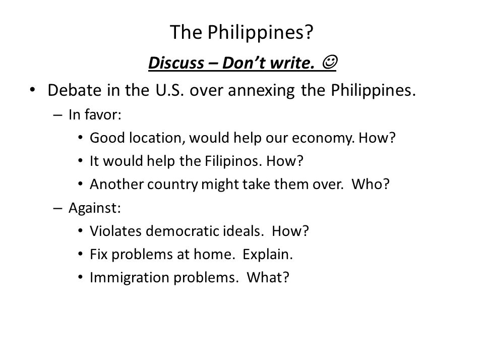 The Philippines Discuss – Don't write. 