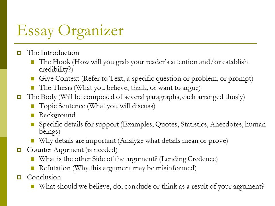 Essay Organizer The Introduction