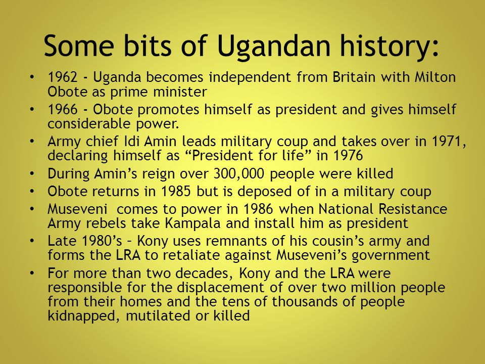 Some bits of Ugandan history: