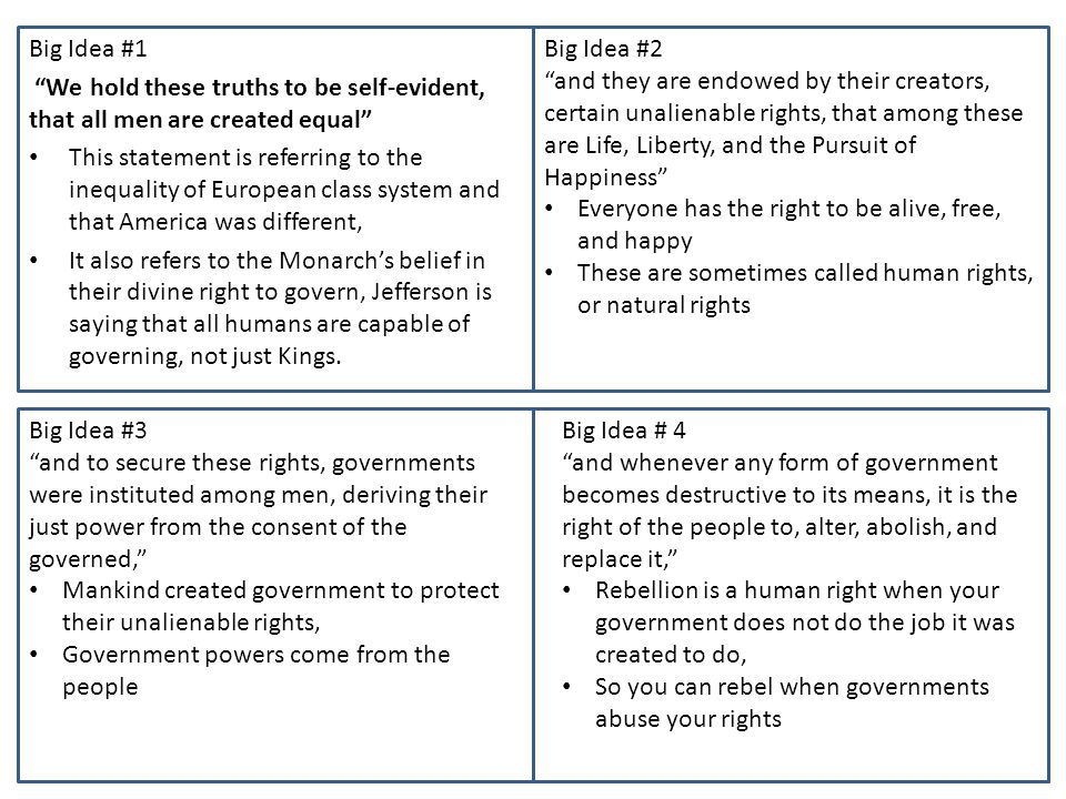 Big Idea #1 We hold these truths to be self-evident, that all men are created equal