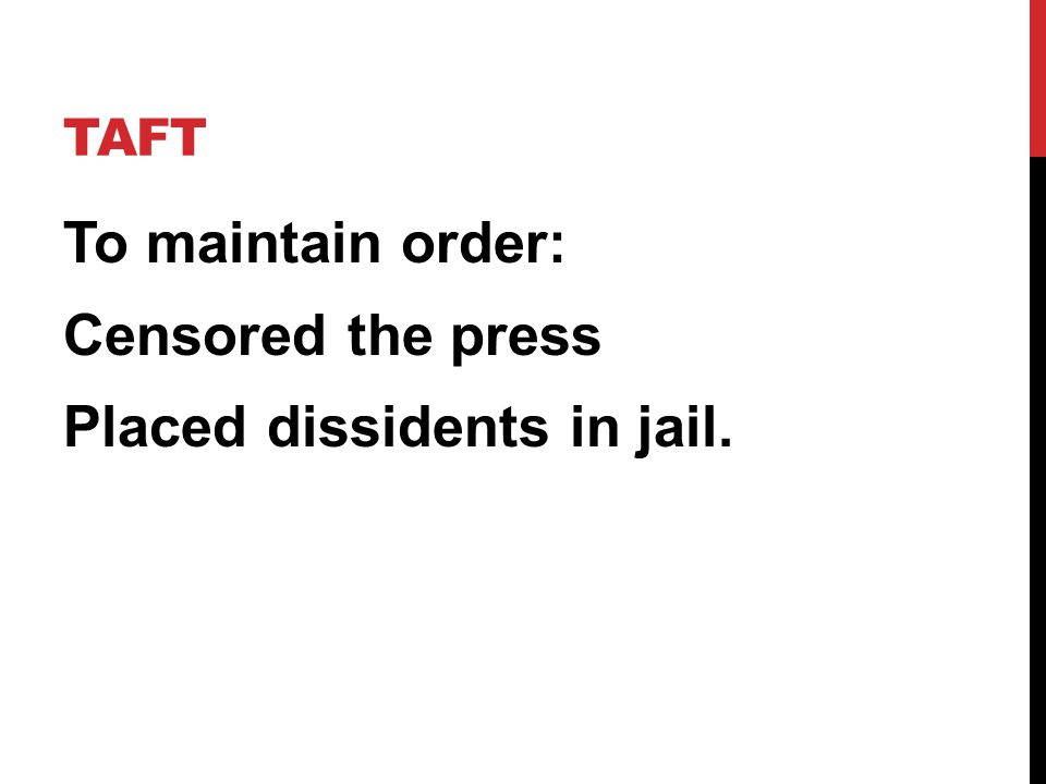 To maintain order: Censored the press Placed dissidents in jail.