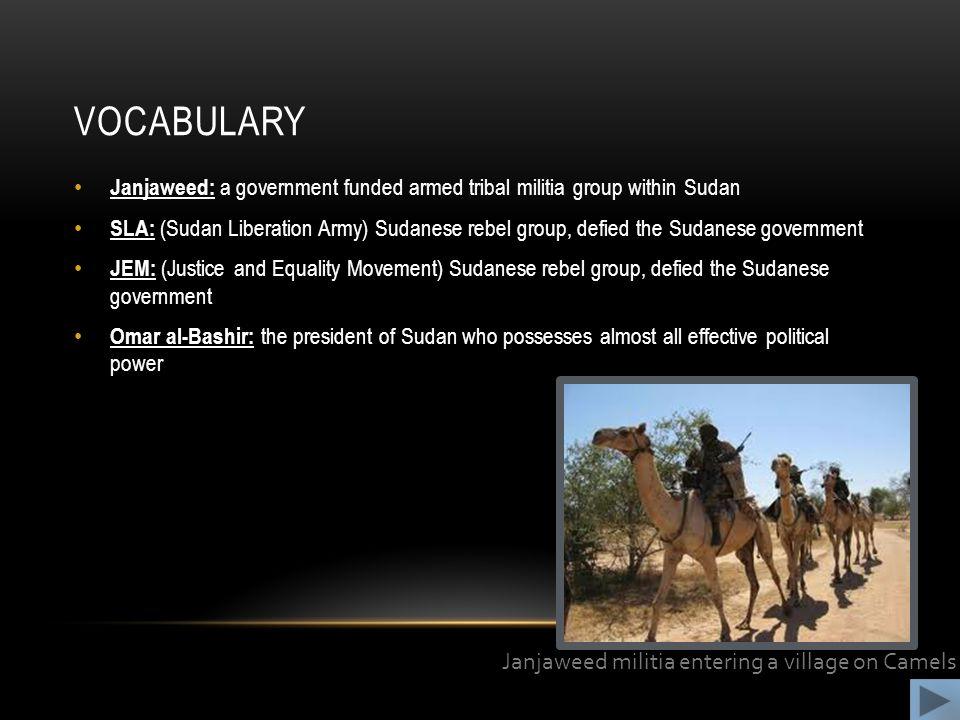 Vocabulary Janjaweed militia entering a village on Camels