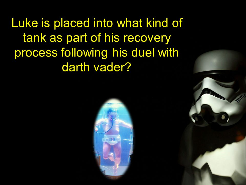 Luke is placed into what kind of tank as part of his recovery process following his duel with darth vader