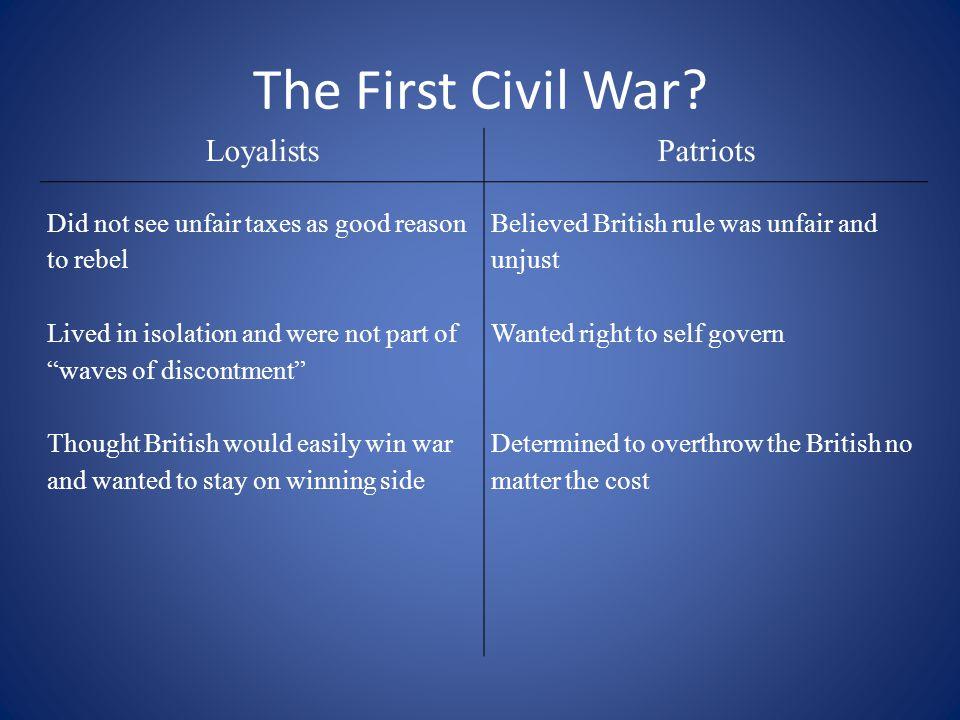 The First Civil War Loyalists Patriots