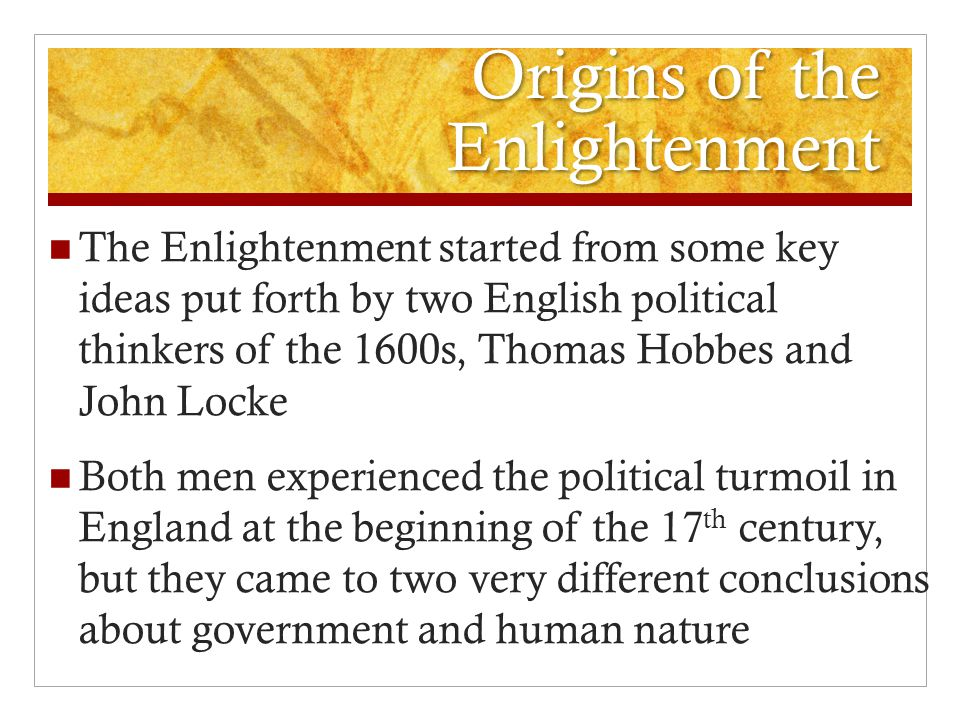 Origins of the Enlightenment