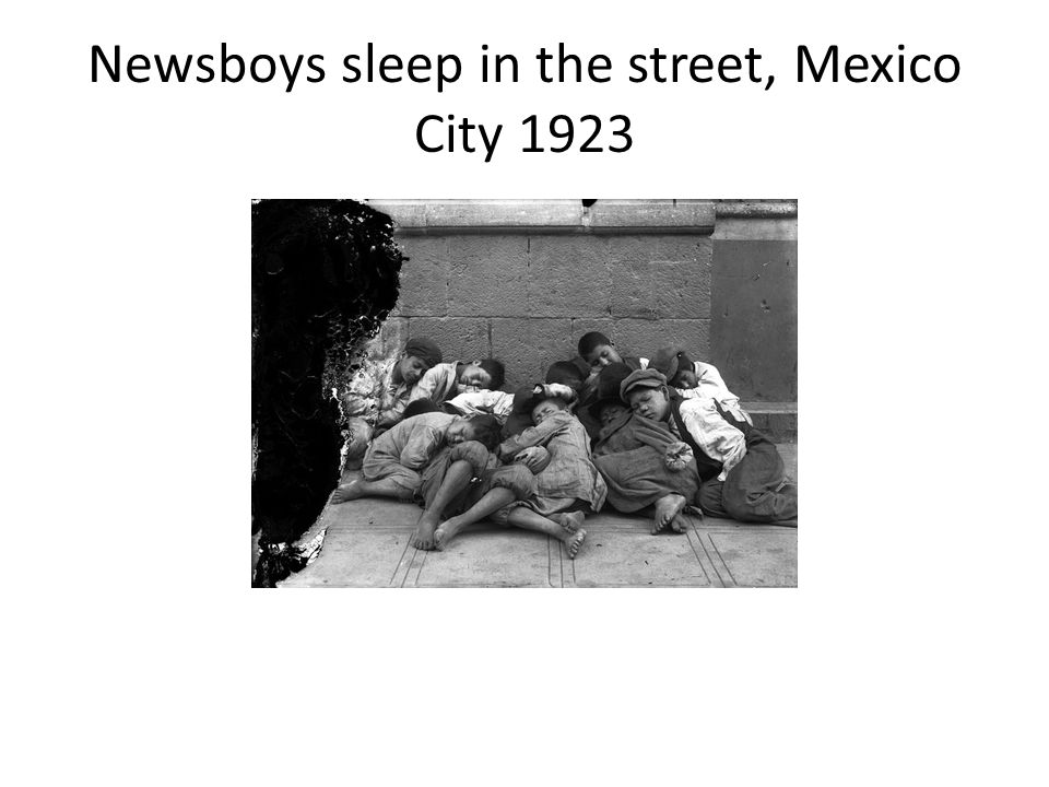 Newsboys sleep in the street, Mexico City 1923