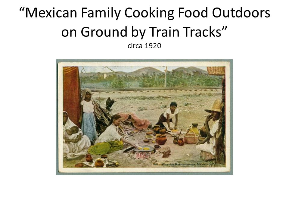 Mexican Family Cooking Food Outdoors on Ground by Train Tracks circa 1920