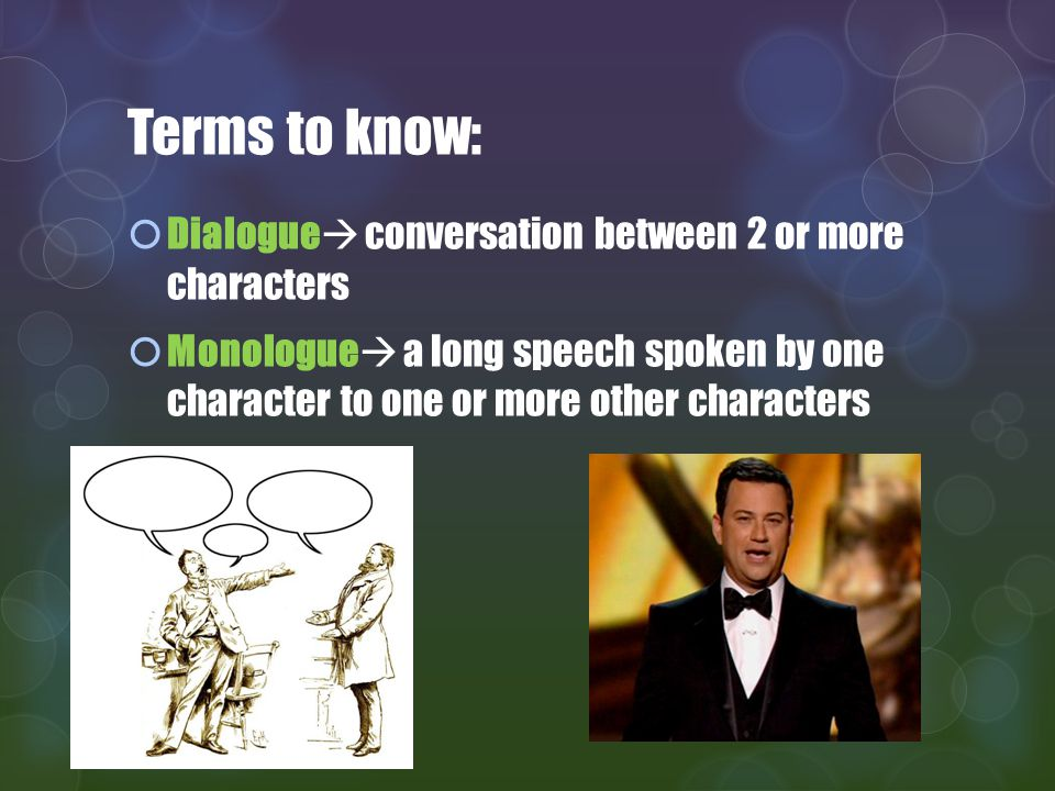 Terms to know: Dialogue conversation between 2 or more characters