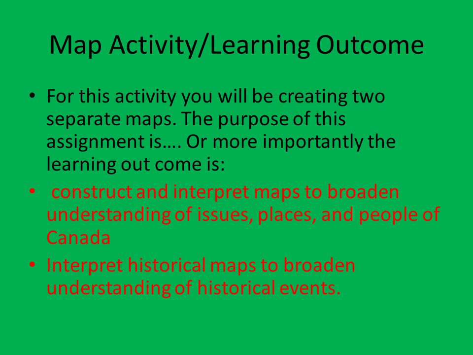 Map Activity/Learning Outcome