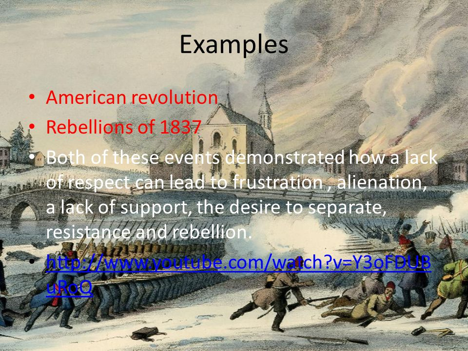Examples American revolution Rebellions of 1837