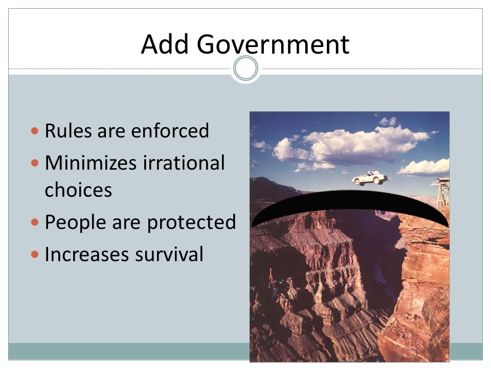 Add Government Minimizes irrational choices People are protected