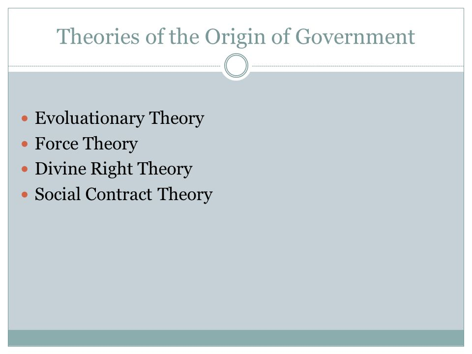 Theories of the Origin of Government