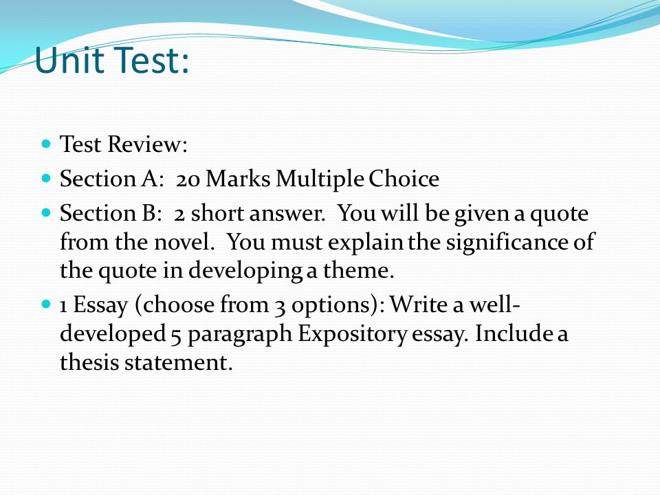 Unit Test: Test Review: Section A: 20 Marks Multiple Choice