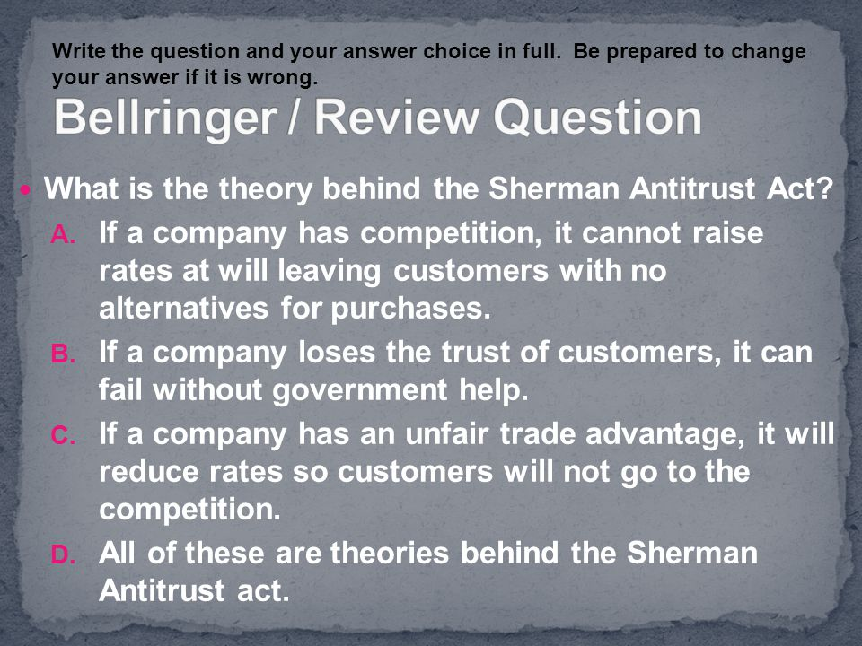 Bellringer / Review Question